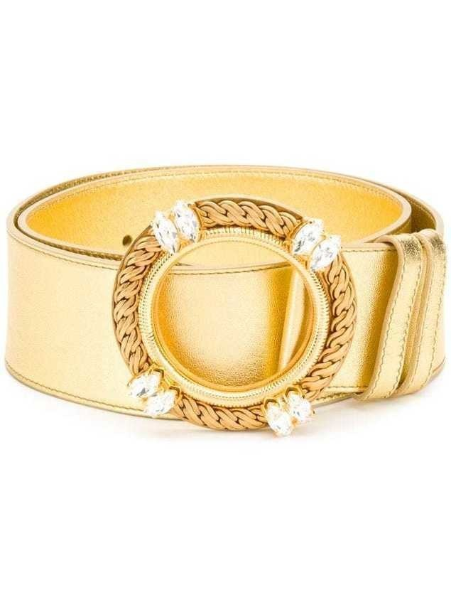 Miu Miu crystal buckle belt - GOLD