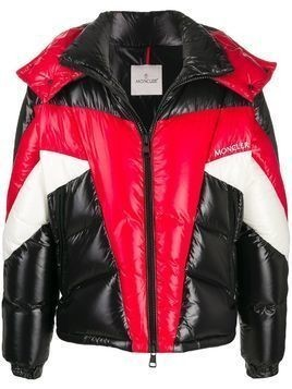Moncler colour block puffer jacket - Black