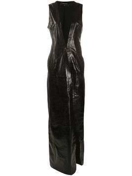 Ann Demeulemeester sleeveless maxi leather coat - Brown