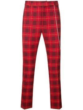 Garcons Infideles checked slim chinos - Red