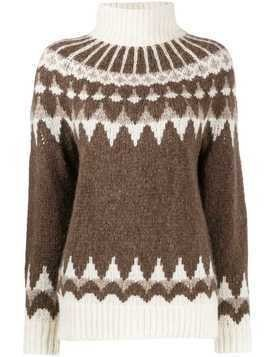Frame patterned turtleneck jumper - Brown