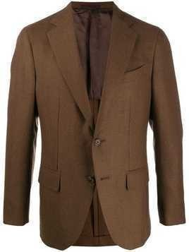 Caruso button fitted blazer - Brown