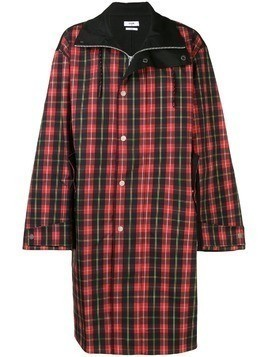 Cmmn Swdn button check coat - Red