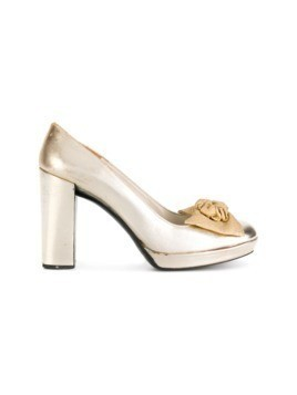 Christian Dior Vintage bow detail pumps - Metallic