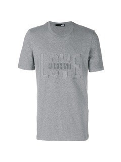 Love Moschino logo embossed T-shirt - Grey