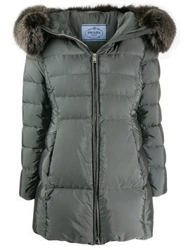 Prada fur-trimmed padded jacket - Grey