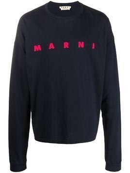 Marni logo long-sleeved T-shirt - Blue