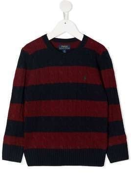 Ralph Lauren Kids striped cable-knit jumper - Red