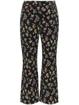 Erdem valary floral-jacquard cropped trousers - Black
