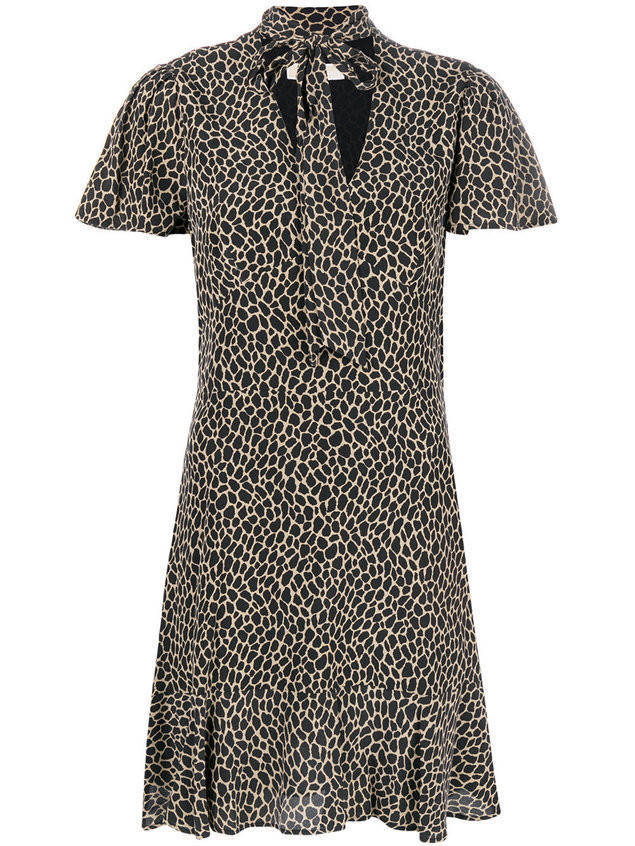 Michael Michael Kors patterned tie neck dress - Black