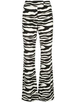 Rachel Zoe zebra-print flared trousers - White