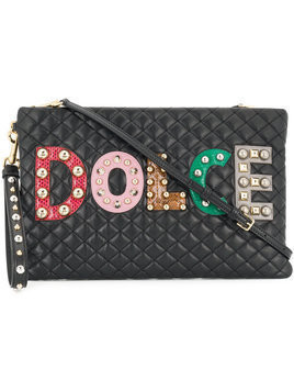 Dolce & Gabbana - quilted logo clutch - Damen - Calf Leather - One Size - Black