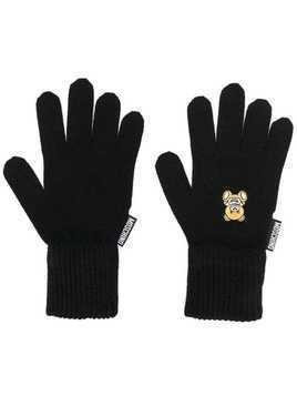 Moschino knitted teddy gloves - Black