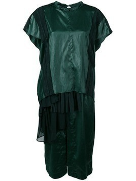 Carven liquid satin pleated gown - Green