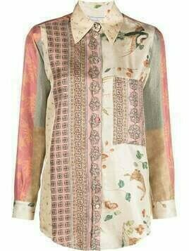 Pierre-Louis Mascia patchwork-print shirt - Neutrals