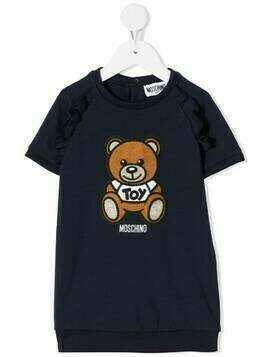 Moschino Kids embroidered teddy bear T-shirt dress - Blue