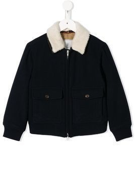 BRUNELLO CUCINELLI KIDS shearling collar short jacket - Blue