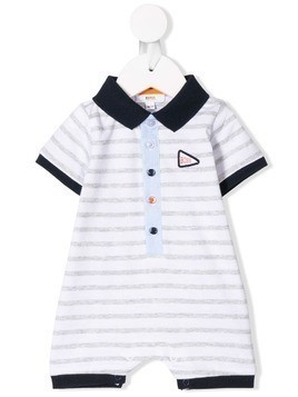 Boss Kids striped polo shortie - White