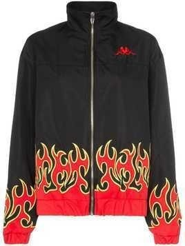 Charm's x Kappa fire-print embroidered-logo lightweight jacket - Black