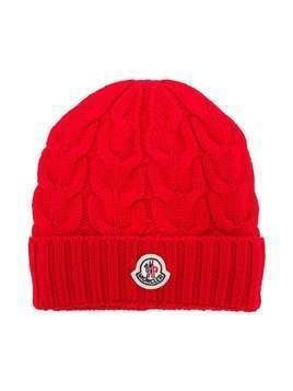 Moncler Kids twist knit beanie - Red