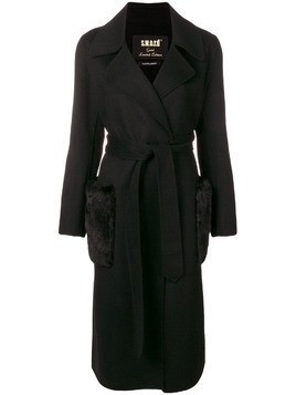 S.W.O.R.D 6.6.44 fur pockets trench coat - Black