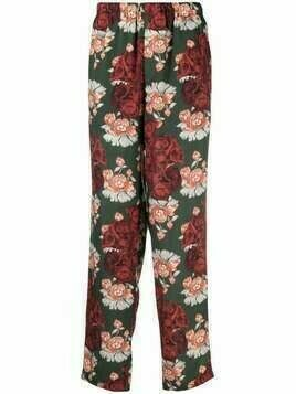 UNDERCOVER rose-print straight trousers - Green