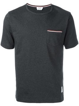 Thom Browne Short Sleeve T-Shirt With Chest Pocket In Charcoal Jersey - Grey