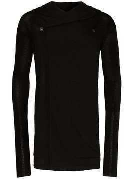 Rick Owens knitted cashmere hooded cardigan - Black