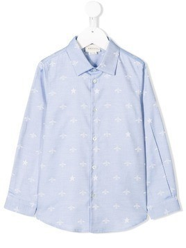 Gucci Kids star and bee print shirt - Blue