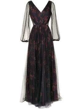 Marchesa Notte Bridesmaids sheer floral maxi dress - PURPLE
