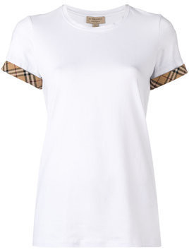 Burberry check detail T-shirt - White