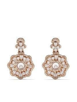 Chopard 18kt rose gold Happy Precious flower earrings