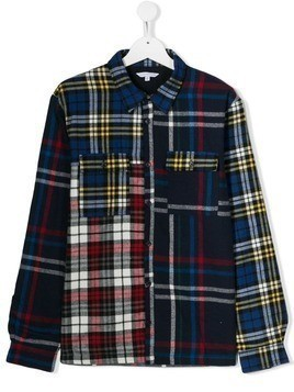 Little Marc Jacobs TEEN check patchwork shirt - Blue