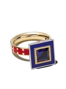 Alice Cicolini 14kt yellow gold Memphis square stone ring - PINK & BLUE