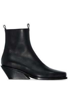 Ann Demeulemeester slanted wedge ankle boots - Black