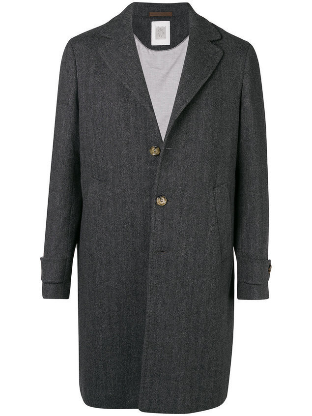 Eleventy single breasted overcoat - Grey