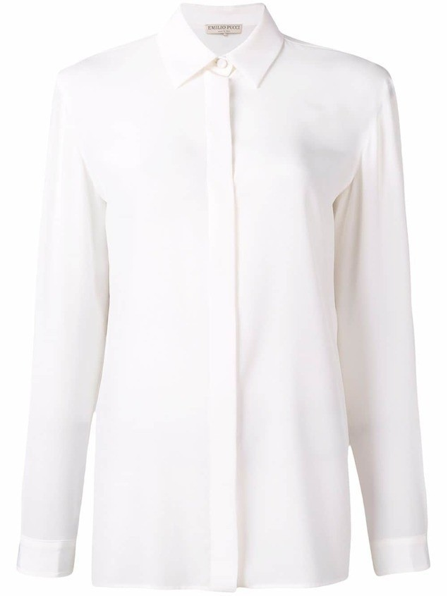 Emilio Pucci White Long Sleeved Silk Shirt