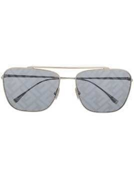 Fendi Eyewear logo lenses aviator sunglasses - SILVER
