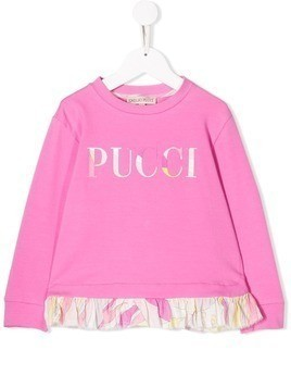 Emilio Pucci Junior Abstract Floral Print Logo Sweatshirt - Pink