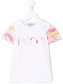 Emilio Pucci Junior Abstract Floral Print Logo T-shirt - White