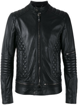 Philipp Plein quilted panel biker jacket - Black