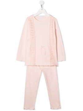 La Perla Kids lace panel pyjama set - PINK