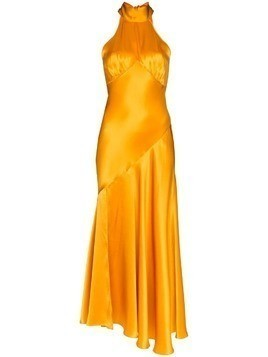 De La Vali Vivienne halterneck silk-satin dress - Yellow