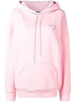 Courrèges embroidered logo hoodie - Pink