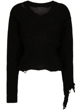 Blindness distressed V-neck wool jumper - Black