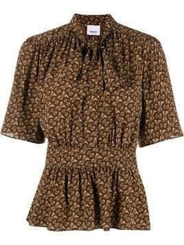 Burberry silk Monogram print blouse - Brown