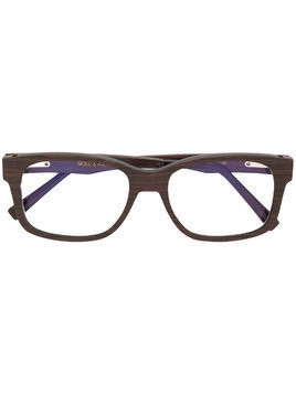 Gold And Wood chunky square frame glasses - Brown