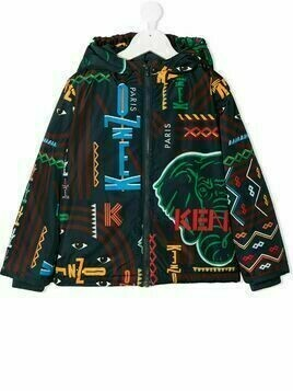 Kenzo Kids logo hooded jacket - Blue