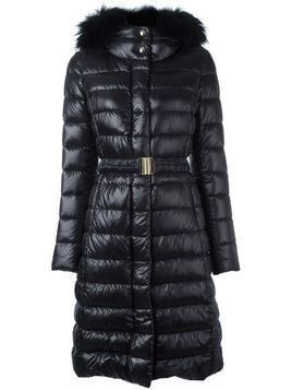 Herno fur hood belted padded coat - Black