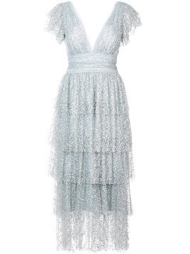 Marchesa Notte tiered sequinned dress - Grey